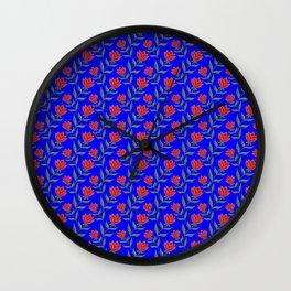 Elegant classy delicate distressed dark red rose flowers pattern. Retro vintage deep blue floral Wall Clock