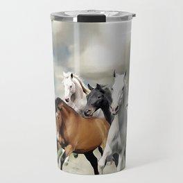 8 Horses Running Travel Mug