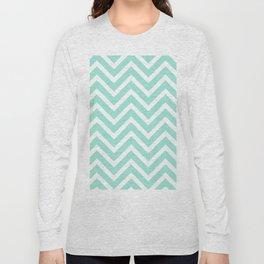 Chevron Stripes : Seafoam Green & White Long Sleeve T-shirt