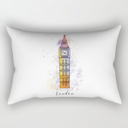 London landmark with watercolor splatters Rectangular Pillow