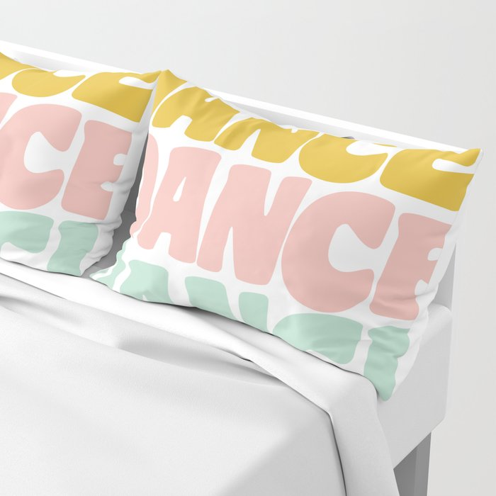 Dance in Candy Pastel Lettering Pillow Sham