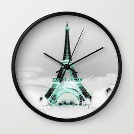 pariS Black & White + Mint Wall Clock
