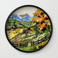Found Tapestry Landscape Wall Clock