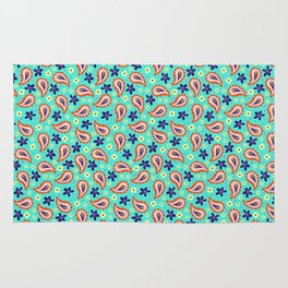Colorful mint paisley Rug