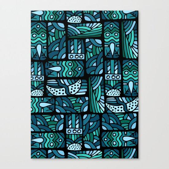 Ethnic blue pattern Canvas Print