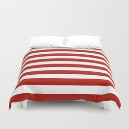 Red & White Maritime Stripes- Mix & Match with Simplicity of Life Duvet Cover