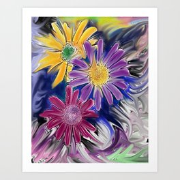 Colorful Daisys Art Print