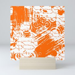 Abstract Orange Grungy Background  Mini Art Print