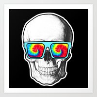 psychadelic Art Prints featuring Psychadelic Skull Tiedye glasses by Chara Chara