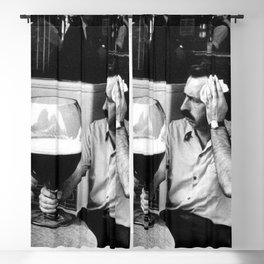 Happy Hour - Men drinking from huge beer mugs after work humorous black and white photograph / art photography Blackout Curtain