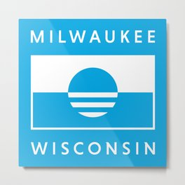 Milwaukee Wisconsin - Cyan - People's Flag of Milwaukee Metal Print
