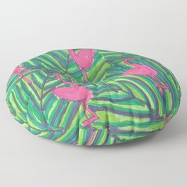 Flamingo Palm Leaves Floor Pillow