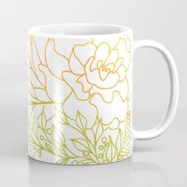 Tangerine and Olive Flowery Linocut Wreath Coffee Mug