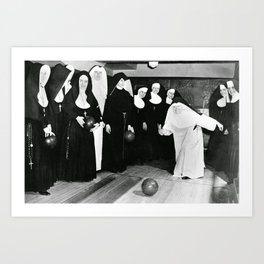 Nuns Bowling Art Print