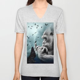 Gorilla discovers crows by GEN Z Unisex V-Neck