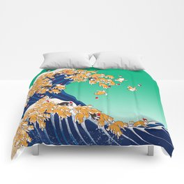 Christmas Shiba Inu The Great Wave Comforters