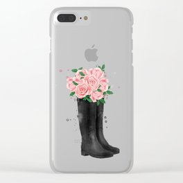 Flowerish boots Clear iPhone Case