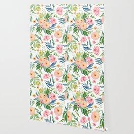 Elegant Roses Coral Pink + Green Wallpaper
