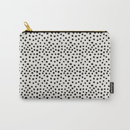 Preppy brushstroke free polka dots black and white spots dots dalmation animal spots design minimal Carry-All Pouch