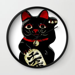 Lucky Black Cat Wall Clock