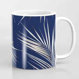 White Gold Palm Leaves on Navy Blue Coffee Mug