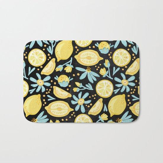 Lemon Pattern Black Bath Mat
