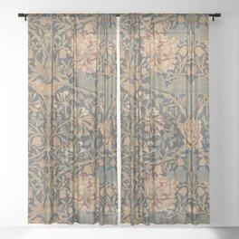 Honeysuckle by William Morris 1876,  Printed Linen, Vintage Pattern, CC0 Spring Summer Sheer Curtain
