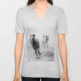 Running with the horses Unisex V-Neck