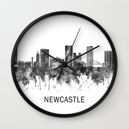 Newcastle UK Skyline BW Wall Clock