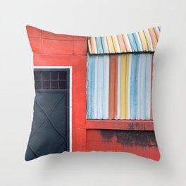 Rainbow Color Closed Shop Window Throw Pillow