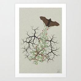 fruit bat paints forest Art Print