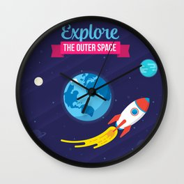 Explore the outer Space Wall Clock