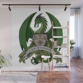 Clan Stonefire Green Dragon Crest Wall Mural