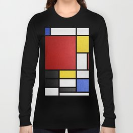 Mondrian in a Leather-Style Long Sleeve T-shirt