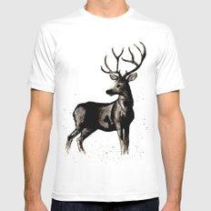 Deer Ink White Mens Fitted Tee MEDIUM