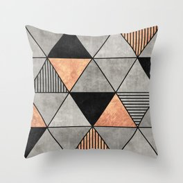 Concrete and Copper Triangles 2 Throw Pillow