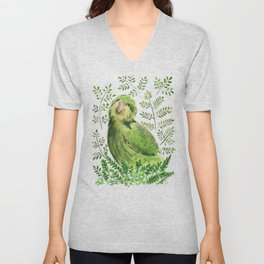 Kakapo in the ferns Unisex V-Neck
