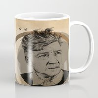 lynch Mugs featuring David Lynch Globe by Ruth Hannah