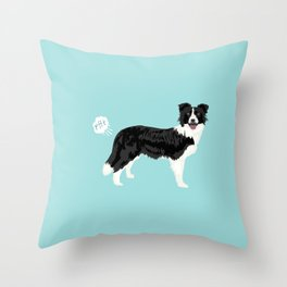 Border Collie dog breed funny dog fart Throw Pillow