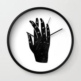 Linocut black and white hand shape minimalist hands decor Wall Clock