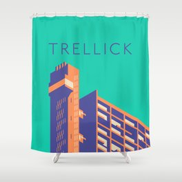Trellick Tower London Brutalist Architecture - Text Turquoise Shower Curtain