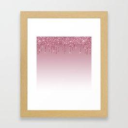 Pink Dripping Glitter Framed Art Print