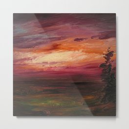 Red Skies Ocean Evening Sunse; nautical coastal landscape painting by Frederic Edwin Church: Metal Print