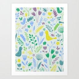 Papercut Meadow - light Art Print