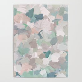 Mint Seafoam Green Dusty Rose Blush Pink Abstract Nature Flower Wall Art, Spring Painting Print Poster