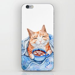 Happy Cat Drinking Hot Chocolate iPhone Skin