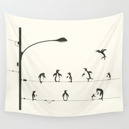 PENGUINS ON A WIRE Wall Tapestry