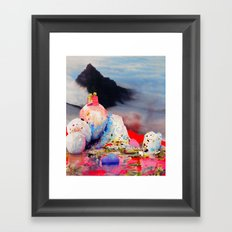 Couple Looking at Mountain Framed Art Print