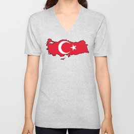 Turkey Map with Turkish Flag Unisex V-Neck