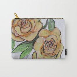 Pretty Peach Roses Carry-All Pouch